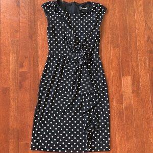 NEW Black/White Polka Dot Figure Flattering Dress